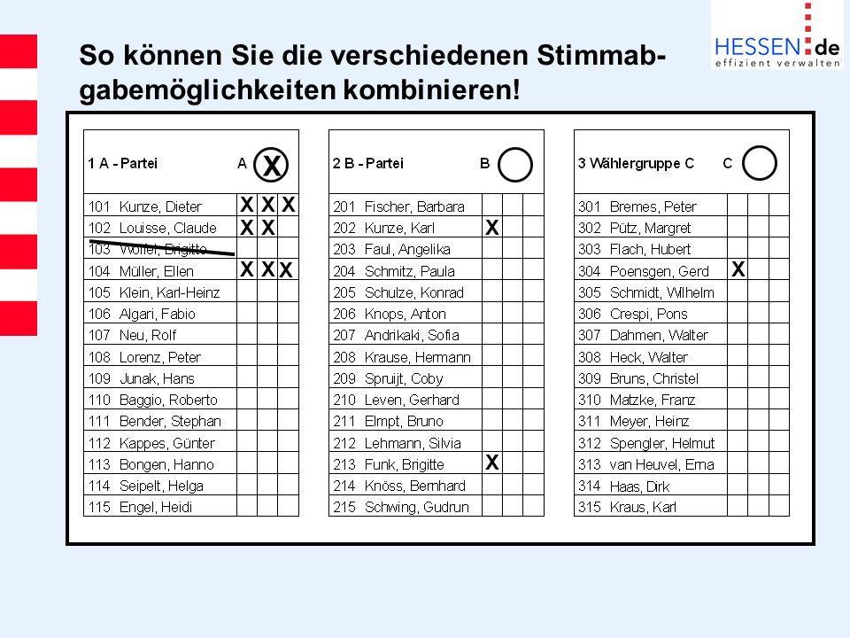 So können Sie die verschiedenen Stimmab- gabemöglichkeiten kombinieren! X X X X XX X X X X X X