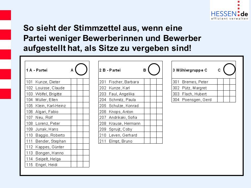 So sieht der Stimmzettel aus, wenn eine Partei weniger Bewerberinnen und Bewerber aufgestellt hat, als Sitze zu vergeben sind!