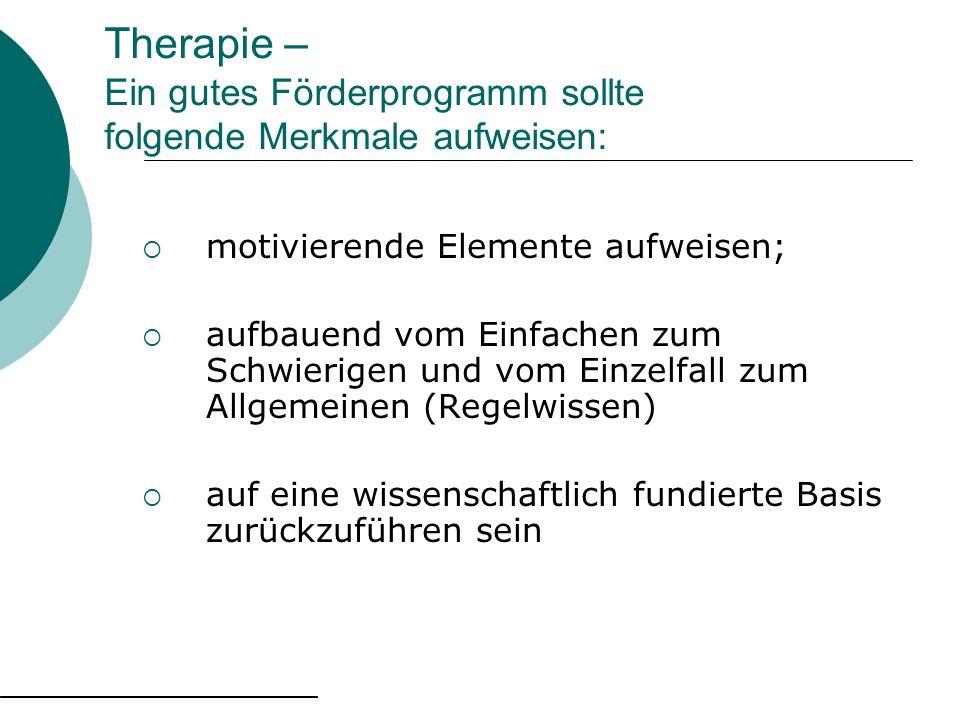 Therapie – Ein gutes Förderprogramm sollte folgende Merkmale aufweisen: motivierende Elemente aufweisen; aufbauend vom Einfachen zum Schwierigen und v
