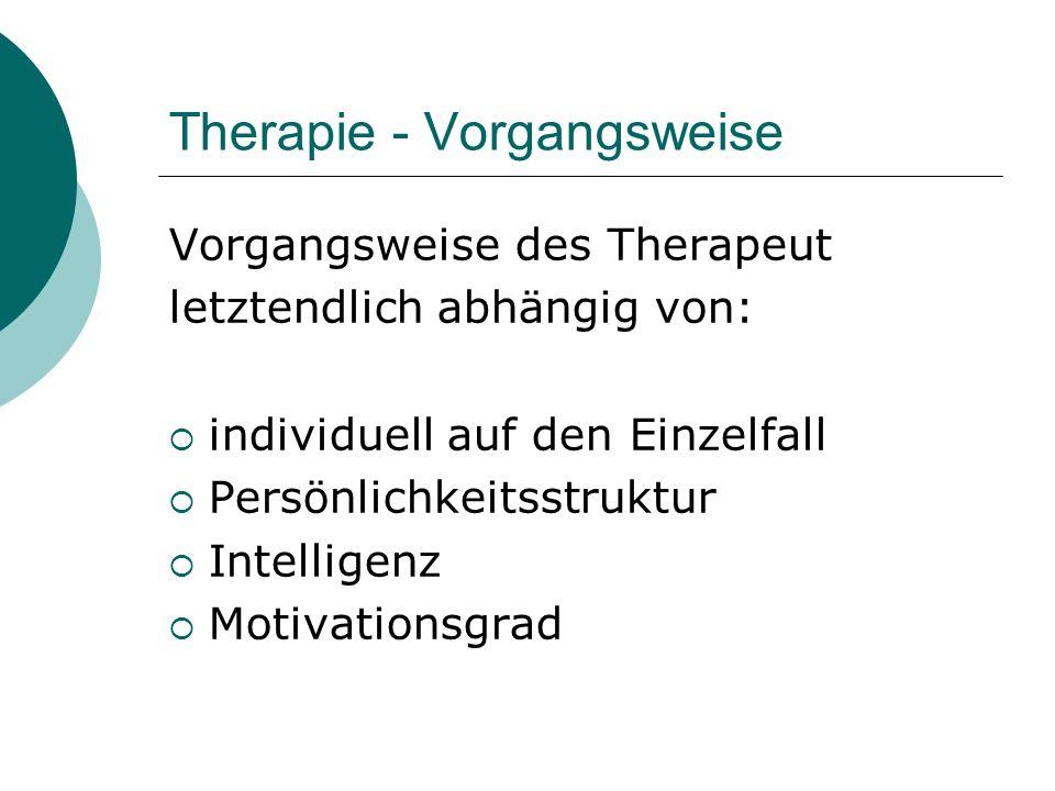 Therapie - Vorgangsweise Vorgangsweise des Therapeut letztendlich abhängig von: individuell auf den Einzelfall Persönlichkeitsstruktur Intelligenz Mot
