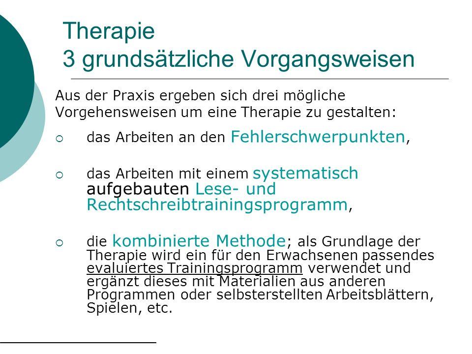 Therapie 3 grundsätzliche Vorgangsweisen Aus der Praxis ergeben sich drei mögliche Vorgehensweisen um eine Therapie zu gestalten: das Arbeiten an den