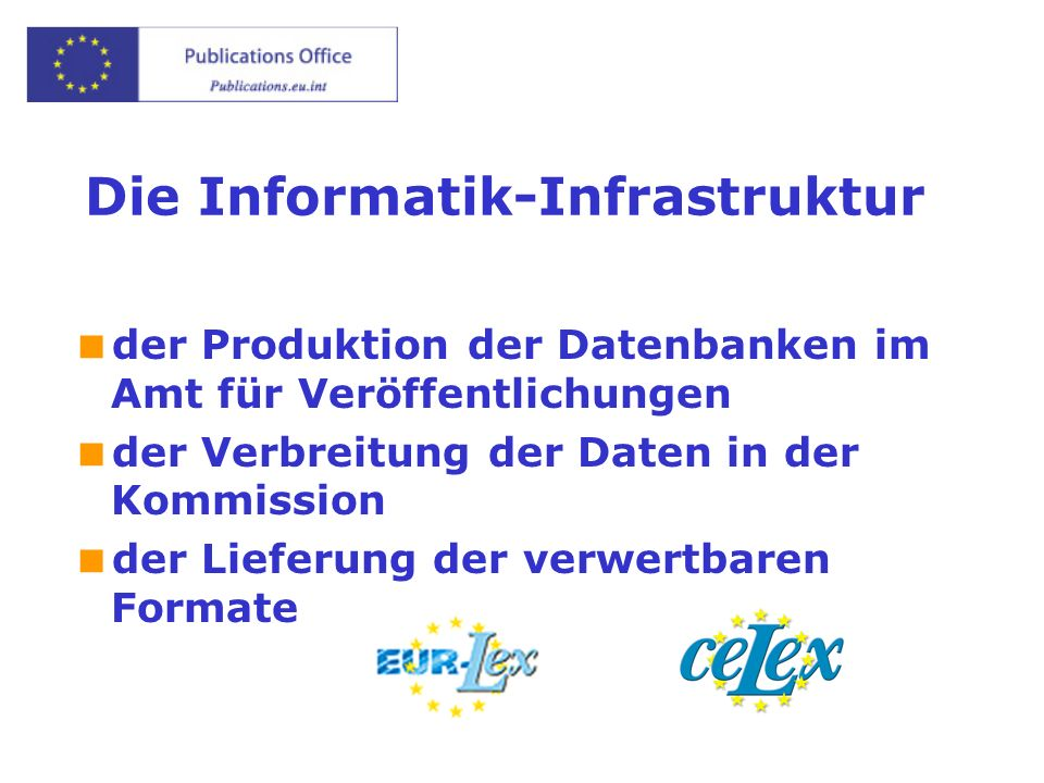 Die Informatik-Infrastruktur der Produktion der Datenbanken im Amt für Veröffentlichungen der Verbreitung der Daten in der Kommission der Lieferung der verwertbaren Formate