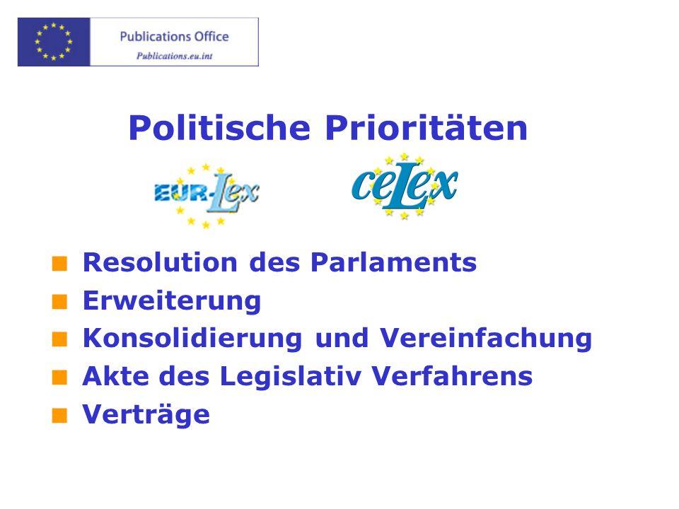 Politische Prioritäten Resolution des Parlaments Erweiterung Konsolidierung und Vereinfachung Akte des Legislativ Verfahrens Verträge