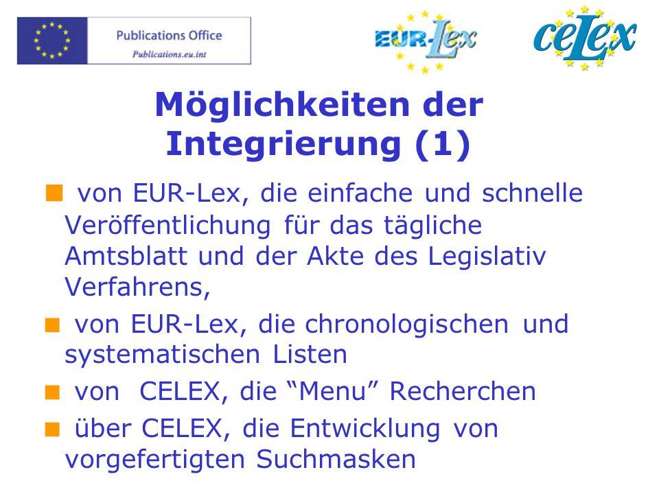 Möglichkeiten der Integrierung (1) von EUR-Lex, die einfache und schnelle Veröffentlichung für das tägliche Amtsblatt und der Akte des Legislativ Verfahrens, von EUR-Lex, die chronologischen und systematischen Listen von CELEX, die Menu Recherchen über CELEX, die Entwicklung von vorgefertigten Suchmasken