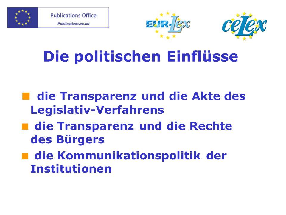 Die politischen Einflüsse die Transparenz und die Akte des Legislativ-Verfahrens die Transparenz und die Rechte des Bürgers die Kommunikationspolitik der Institutionen