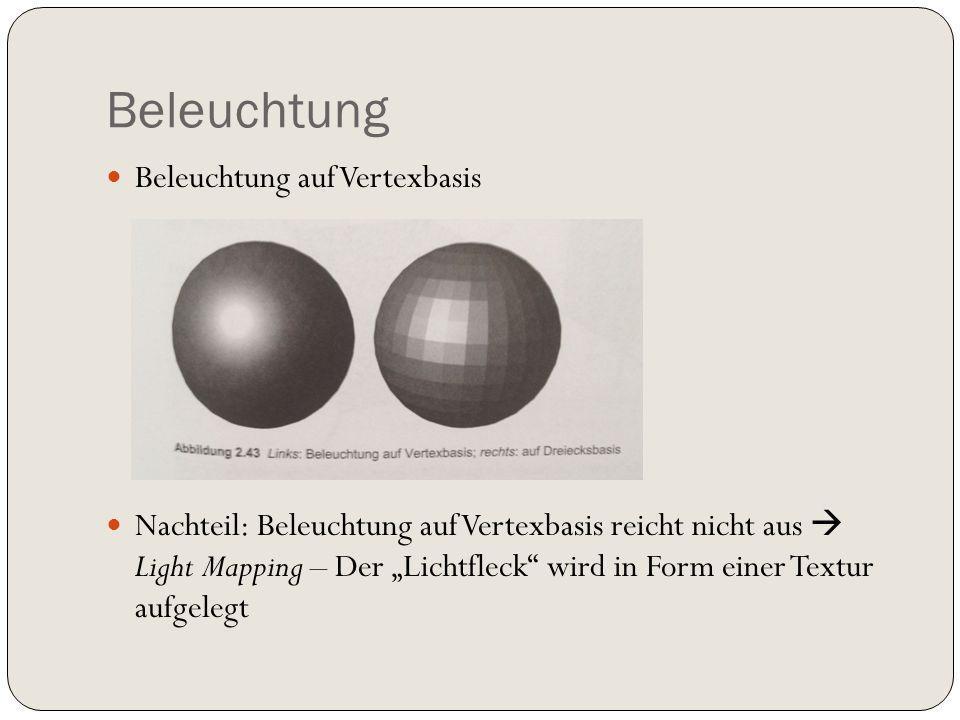 Beleuchtung Beleuchtung auf Vertexbasis Nachteil: Beleuchtung auf Vertexbasis reicht nicht aus Light Mapping – Der Lichtfleck wird in Form einer Textur aufgelegt