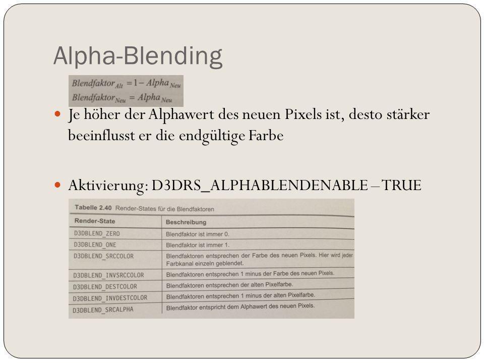 Alpha-Blending Je höher der Alphawert des neuen Pixels ist, desto stärker beeinflusst er die endgültige Farbe Aktivierung: D3DRS_ALPHABLENDENABLE – TRUE