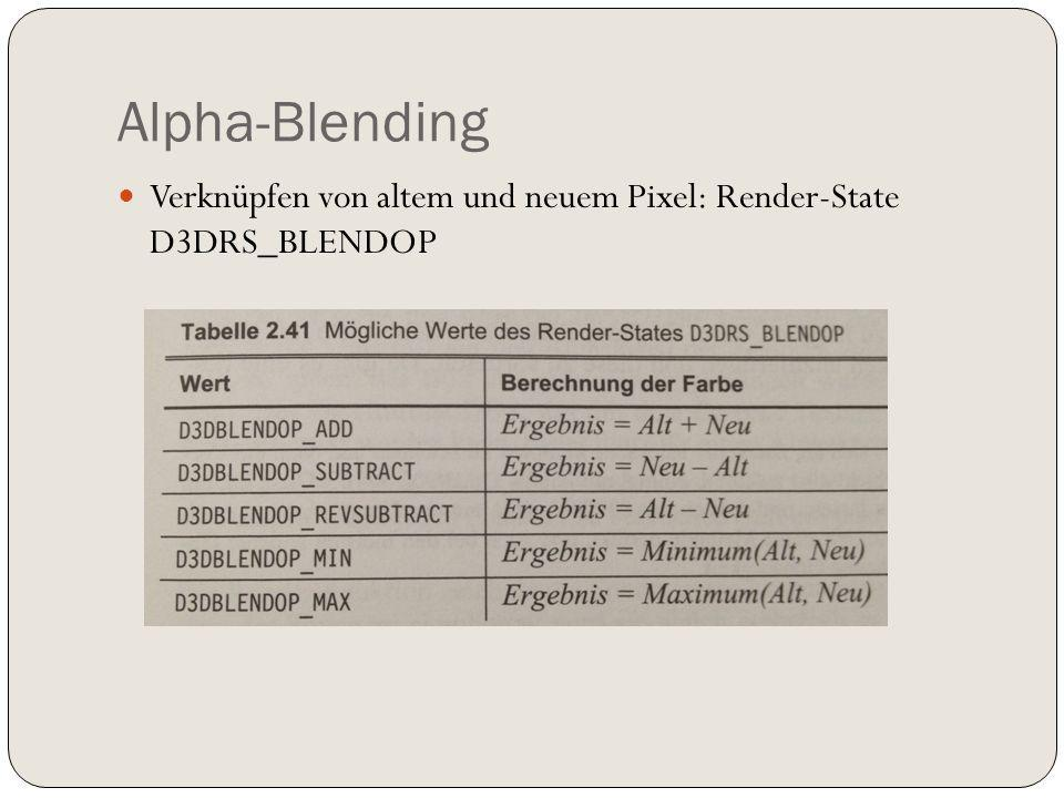 Verknüpfen von altem und neuem Pixel: Render-State D3DRS_BLENDOP