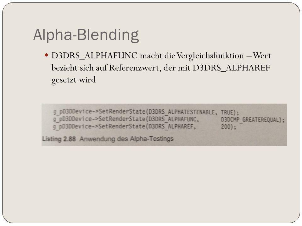 Alpha-Blending D3DRS_ALPHAFUNC macht die Vergleichsfunktion – Wert bezieht sich auf Referenzwert, der mit D3DRS_ALPHAREF gesetzt wird