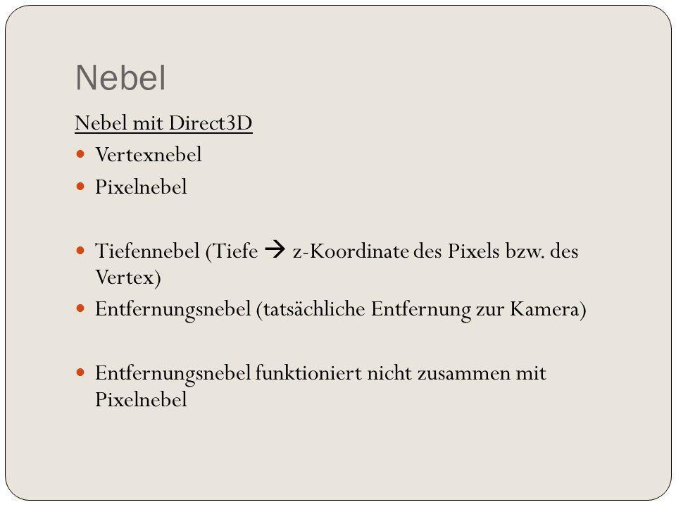 Nebel Nebel mit Direct3D Vertexnebel Pixelnebel Tiefennebel (Tiefe z-Koordinate des Pixels bzw.