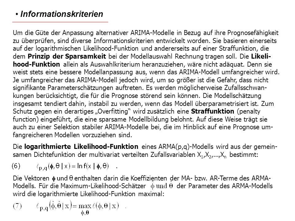 Informationskriterien Um die Güte der Anpassung alternativer ARIMA-Modelle in Bezug auf ihre Prognosefähigkeit zu überprüfen, sind diverse Information