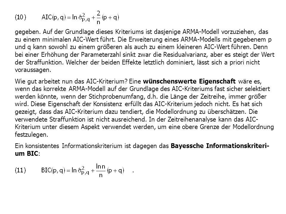 gegeben. Auf der Grundlage dieses Kriteriums ist dasjenige ARMA-Modell vorzuziehen, das zu einem minimalen AIC-Wert führt. Die Erweiterung eines ARMA-