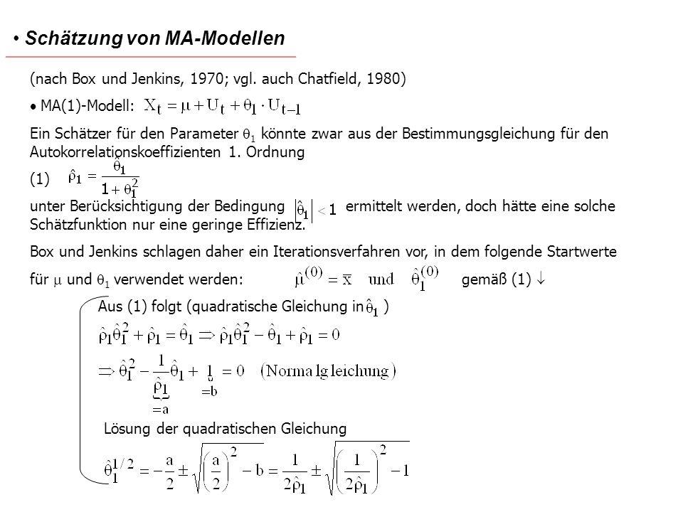 Schätzung von MA-Modellen (nach Box und Jenkins, 1970; vgl. auch Chatfield, 1980) MA(1)-Modell: Ein Schätzer für den Parameter 1 könnte zwar aus der B