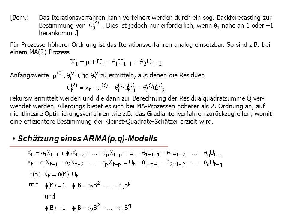 [Bem.:Das Iterationsverfahren kann verfeinert werden durch ein sog. Backforecasting zur Bestimmung von. Dies ist jedoch nur erforderlich, wenn 1 nahe
