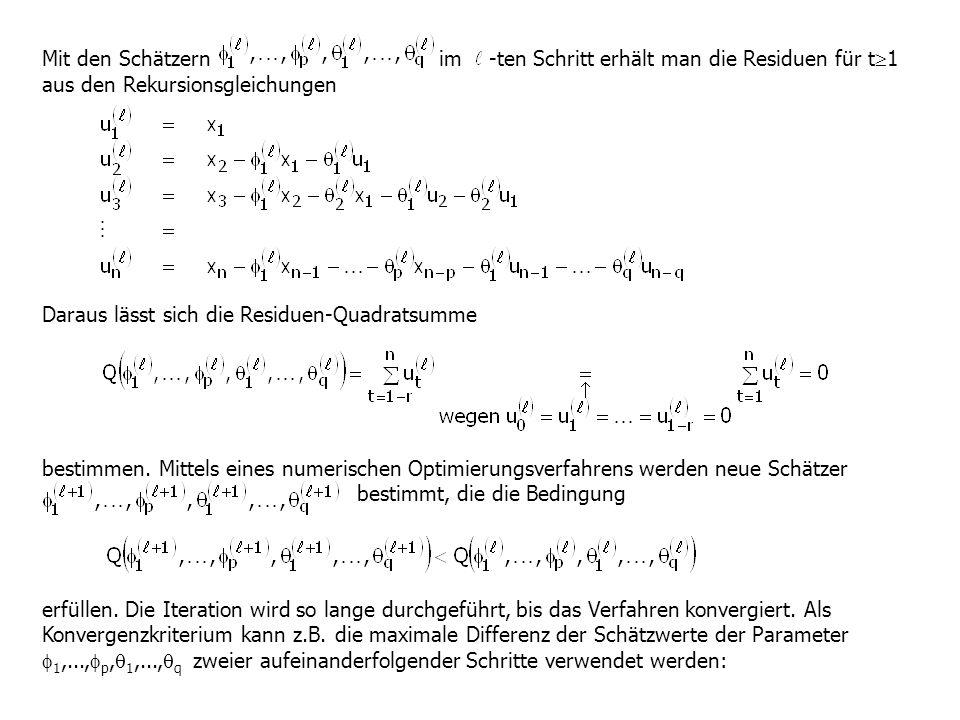 Mit den Schätzern im -ten Schritt erhält man die Residuen für t 1 aus den Rekursionsgleichungen Daraus lässt sich die Residuen-Quadratsumme bestimmen.