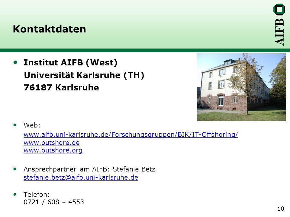 10 Kontaktdaten Institut AIFB (West) Universität Karlsruhe (TH) 76187 Karlsruhe Web: www.aifb.uni-karlsruhe.de/Forschungsgruppen/BIK/IT-Offshoring/ www.outshore.de www.outshore.org Ansprechpartner am AIFB: Stefanie Betz stefanie.betz@aifb.uni-karlsruhe.de stefanie.betz@aifb.uni-karlsruhe.de Telefon: 0721 / 608 – 4553