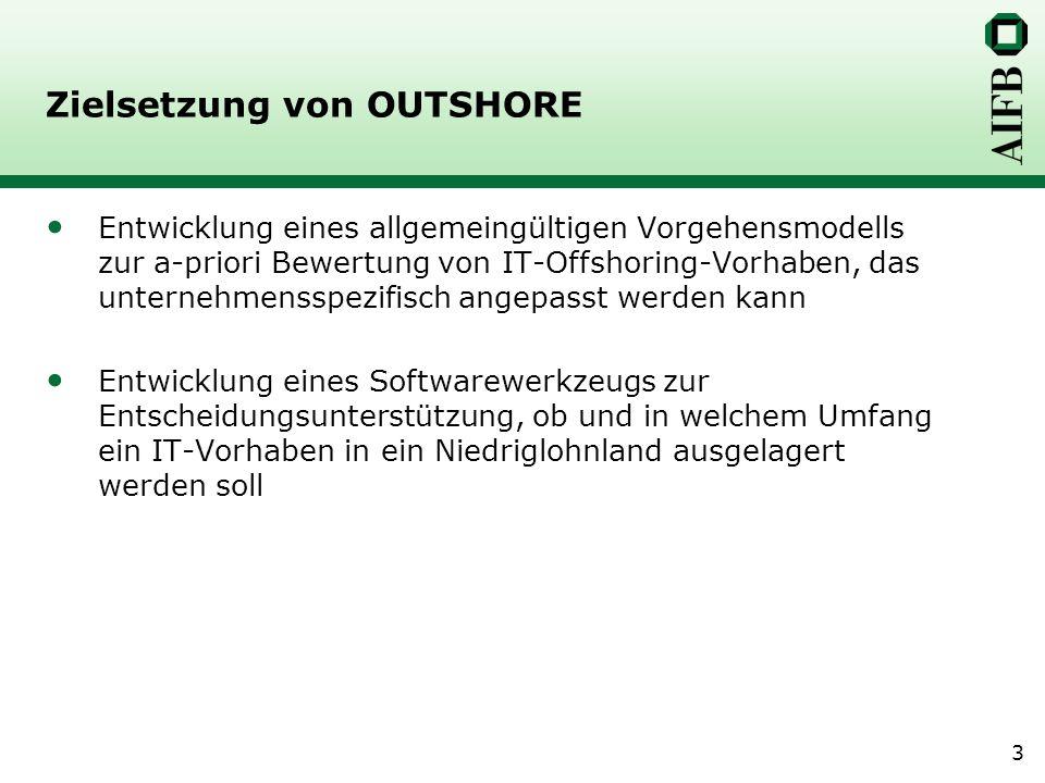 3 Zielsetzung von OUTSHORE Entwicklung eines allgemeingültigen Vorgehensmodells zur a-priori Bewertung von IT-Offshoring-Vorhaben, das unternehmensspe