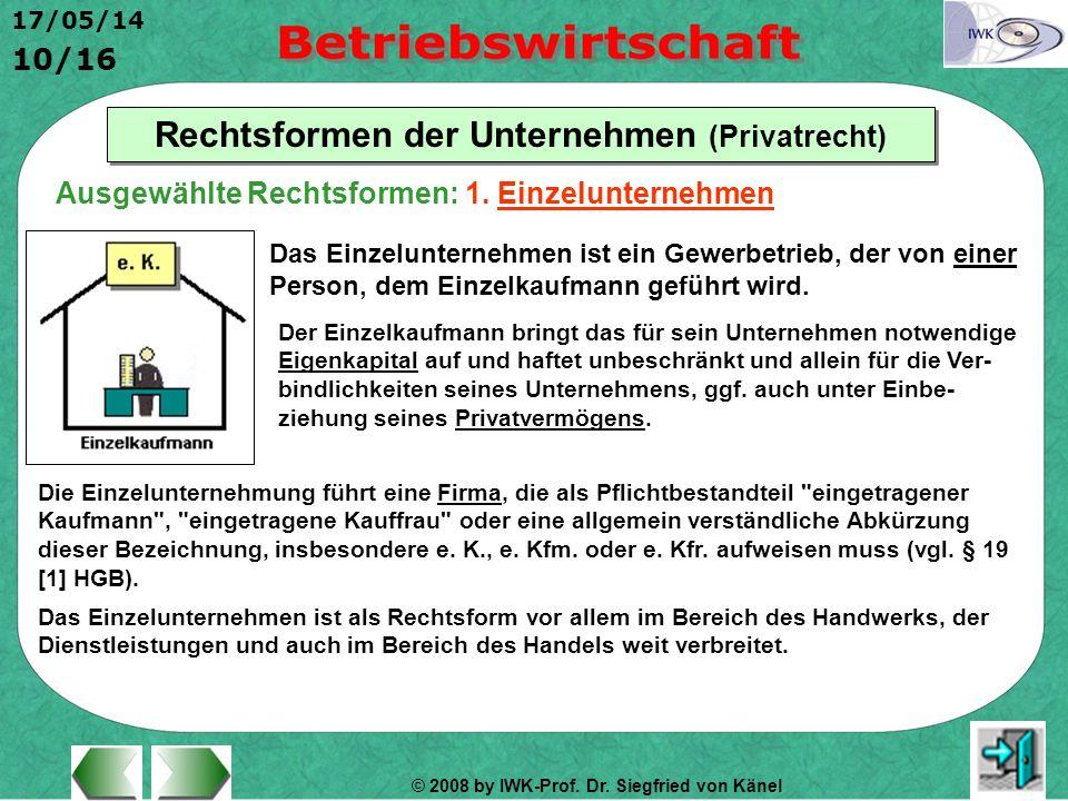© 2008 by IWK-Prof. Dr. Siegfried von Känel 17/05/14 10/16 Rechtsformen der Unternehmen (Privatrecht) Das Einzelunternehmen ist ein Gewerbetrieb, der