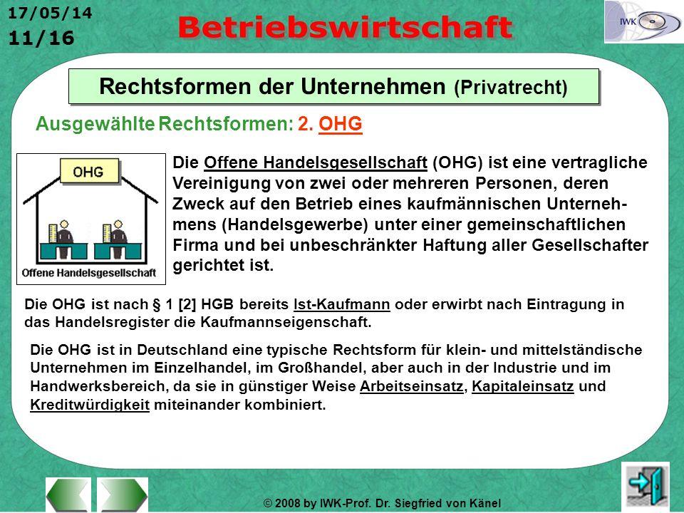 © 2008 by IWK-Prof. Dr. Siegfried von Känel 17/05/14 11/16 Rechtsformen der Unternehmen (Privatrecht) Die Offene Handelsgesellschaft (OHG) ist eine ve