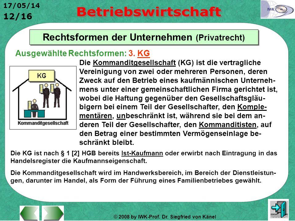 © 2008 by IWK-Prof. Dr. Siegfried von Känel 17/05/14 12/16 Rechtsformen der Unternehmen (Privatrecht) Die Kommanditgesellschaft (KG) ist die vertragli