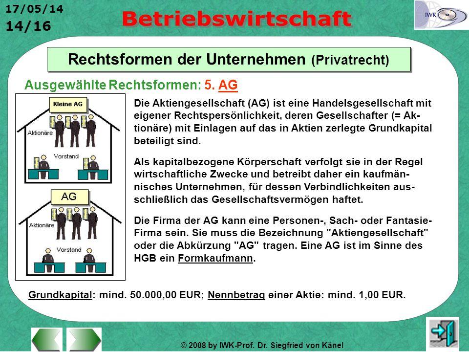 © 2008 by IWK-Prof. Dr. Siegfried von Känel 17/05/14 14/16 Rechtsformen der Unternehmen (Privatrecht) Die Aktiengesellschaft (AG) ist eine Handelsgese