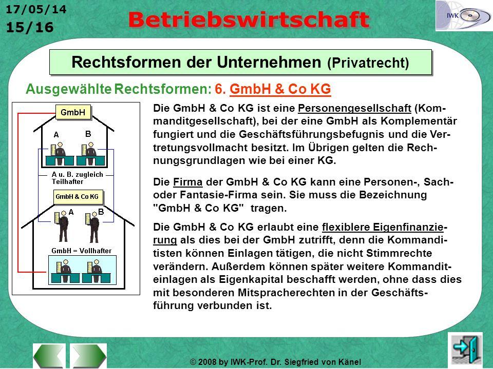 © 2008 by IWK-Prof. Dr. Siegfried von Känel 17/05/14 15/16 Rechtsformen der Unternehmen (Privatrecht) Die GmbH & Co KG ist eine Personengesellschaft (