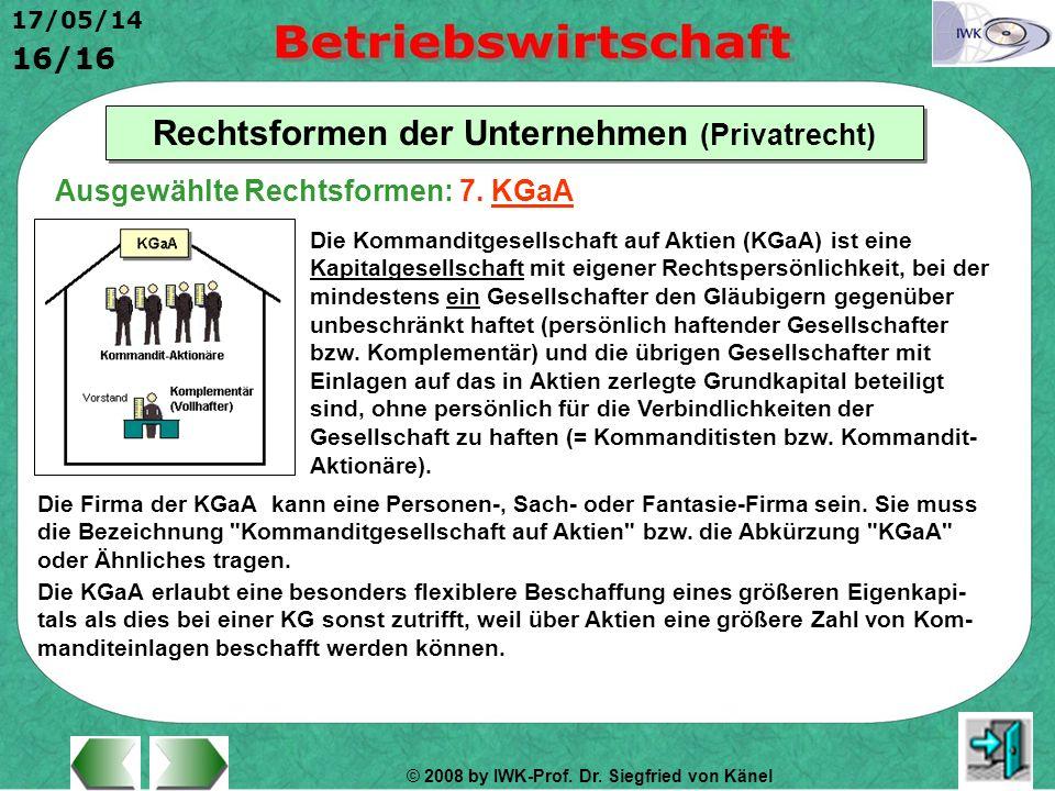 © 2008 by IWK-Prof. Dr. Siegfried von Känel 17/05/14 16/16 Rechtsformen der Unternehmen (Privatrecht) Die Kommanditgesellschaft auf Aktien (KGaA) ist