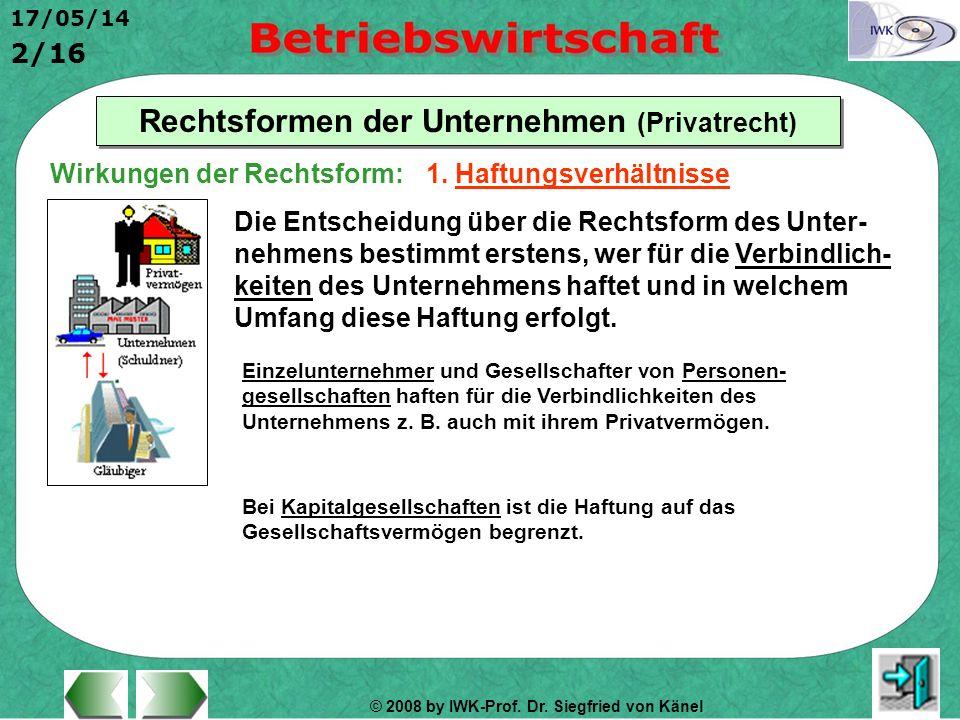 © 2008 by IWK-Prof. Dr. Siegfried von Känel 17/05/14 2/16 Rechtsformen der Unternehmen (Privatrecht) Wirkungen der Rechtsform: Die Entscheidung über d