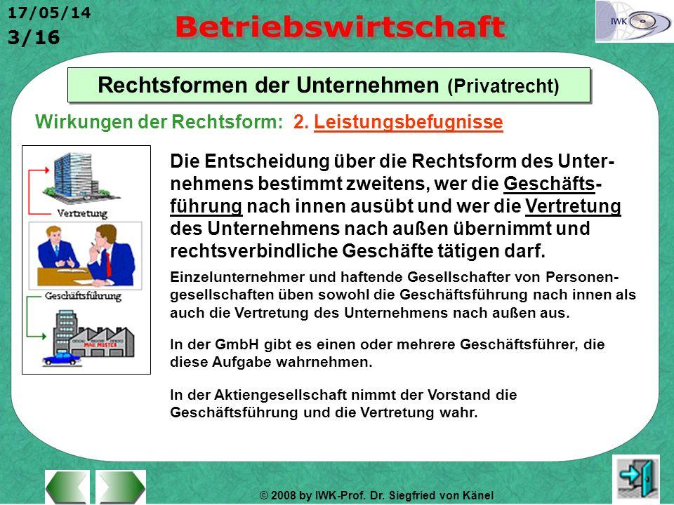 © 2008 by IWK-Prof. Dr. Siegfried von Känel 17/05/14 3/16 Rechtsformen der Unternehmen (Privatrecht) Die Entscheidung über die Rechtsform des Unter- n
