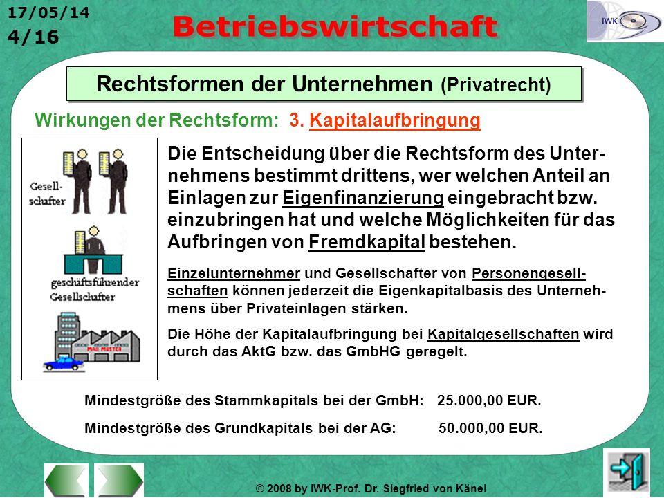 © 2008 by IWK-Prof. Dr. Siegfried von Känel 17/05/14 4/16 Rechtsformen der Unternehmen (Privatrecht) Die Entscheidung über die Rechtsform des Unter- n
