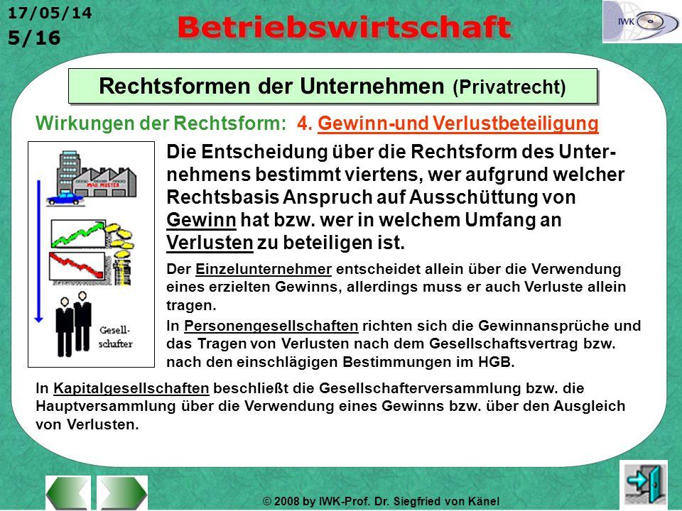 © 2008 by IWK-Prof. Dr. Siegfried von Känel 17/05/14 5/16 Rechtsformen der Unternehmen (Privatrecht) Die Entscheidung über die Rechtsform des Unter- n