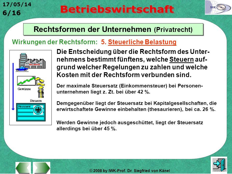 © 2008 by IWK-Prof. Dr. Siegfried von Känel 17/05/14 6/16 Rechtsformen der Unternehmen (Privatrecht) Die Entscheidung über die Rechtsform des Unter- n