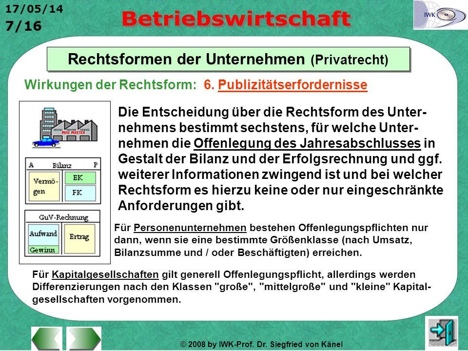 © 2008 by IWK-Prof. Dr. Siegfried von Känel 17/05/14 7/16 Rechtsformen der Unternehmen (Privatrecht) Die Entscheidung über die Rechtsform des Unter- n