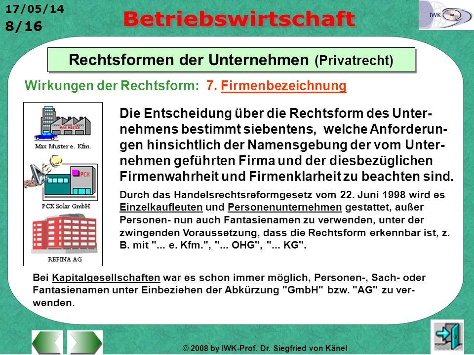 © 2008 by IWK-Prof. Dr. Siegfried von Känel 17/05/14 8/16 Rechtsformen der Unternehmen (Privatrecht) Die Entscheidung über die Rechtsform des Unter- n