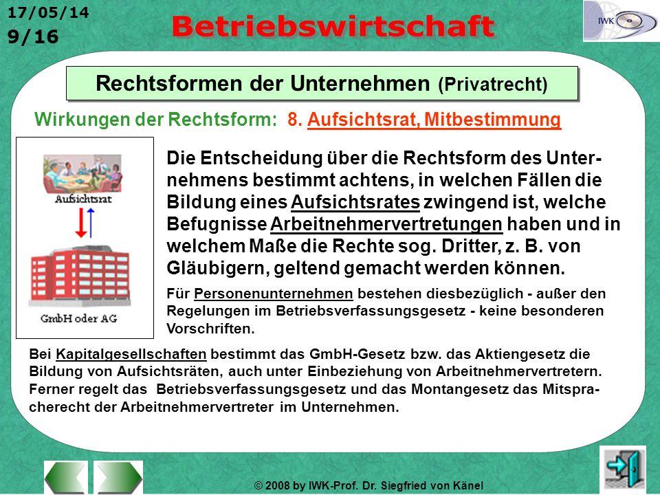 © 2008 by IWK-Prof. Dr. Siegfried von Känel 17/05/14 9/16 Rechtsformen der Unternehmen (Privatrecht) Die Entscheidung über die Rechtsform des Unter- n