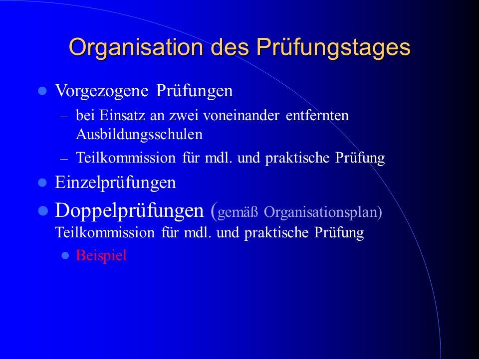Organisation des Prüfungstages Vorgezogene Prüfungen – bei Einsatz an zwei voneinander entfernten Ausbildungsschulen – Teilkommission für mdl. und pra