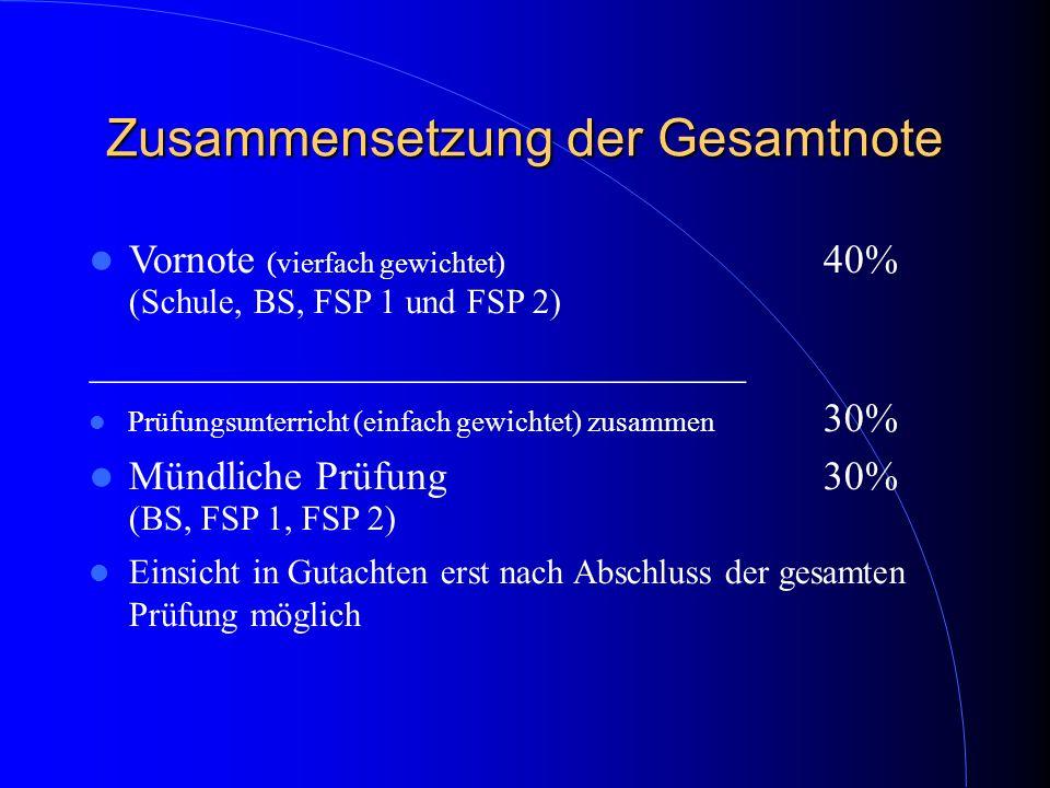 Zusammensetzung der Gesamtnote Vornote (vierfach gewichtet) 40% (Schule, BS, FSP 1 und FSP 2) ________________________________ Prüfungsunterricht (ein