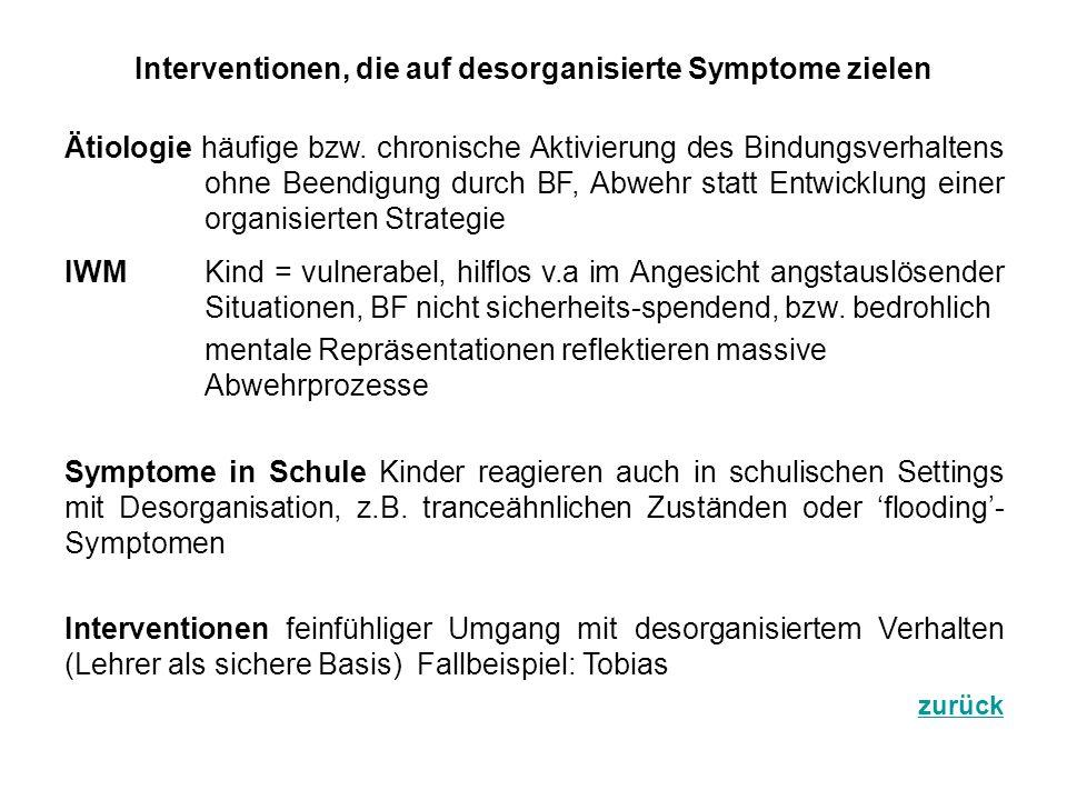 Interventionen, die auf desorganisierte Symptome zielen Ätiologie häufige bzw. chronische Aktivierung des Bindungsverhaltens ohne Beendigung durch BF,