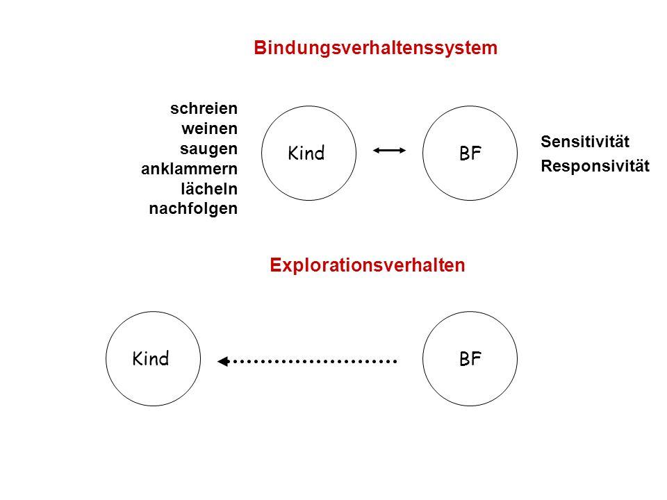 Bindungsverhaltenssystem Explorationsverhalten KindBF Sensitivität Responsivität schreien weinen saugen anklammern lächeln nachfolgen BFKind