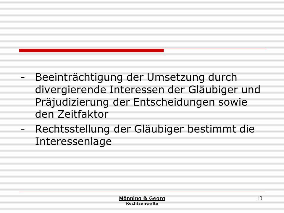 Mönning & Georg Rechtsanwälte 13 - Beeinträchtigung der Umsetzung durch divergierende Interessen der Gläubiger und Präjudizierung der Entscheidungen sowie den Zeitfaktor - Rechtsstellung der Gläubiger bestimmt die Interessenlage