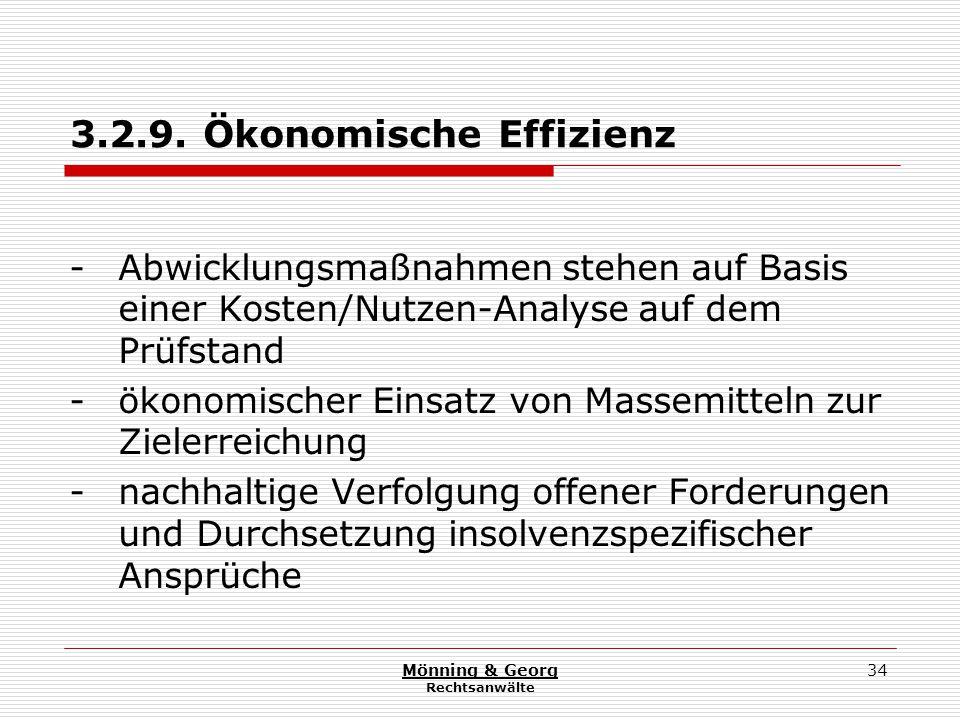 Mönning & Georg Rechtsanwälte 34 3.2.9. Ökonomische Effizienz - Abwicklungsmaßnahmen stehen auf Basis einer Kosten/Nutzen-Analyse auf dem Prüfstand -