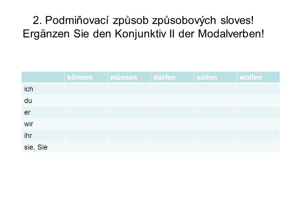 2.Podmiňovací způsob způsobových sloves. Ergänzen Sie den Konjunktiv II der Modalverben.