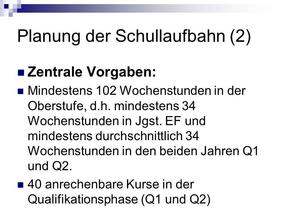 Planung der Schullaufbahn (2) Zentrale Vorgaben: Mindestens 102 Wochenstunden in der Oberstufe, d.h. mindestens 34 Wochenstunden in Jgst. EF und minde