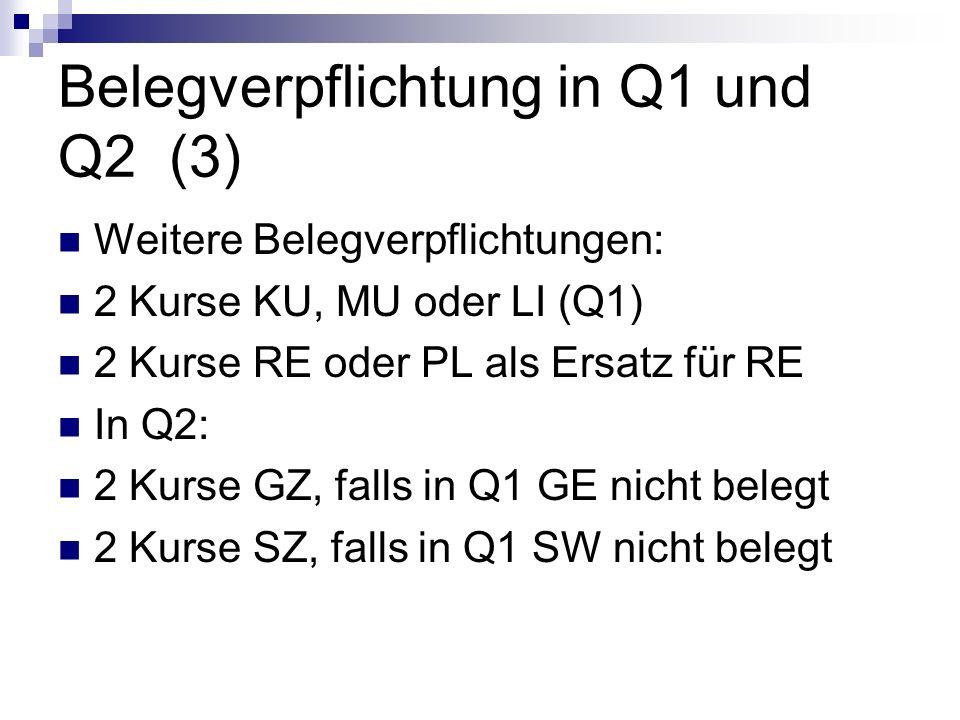 Belegverpflichtung in Q1 und Q2 (3) Weitere Belegverpflichtungen: 2 Kurse KU, MU oder LI (Q1) 2 Kurse RE oder PL als Ersatz für RE In Q2: 2 Kurse GZ,