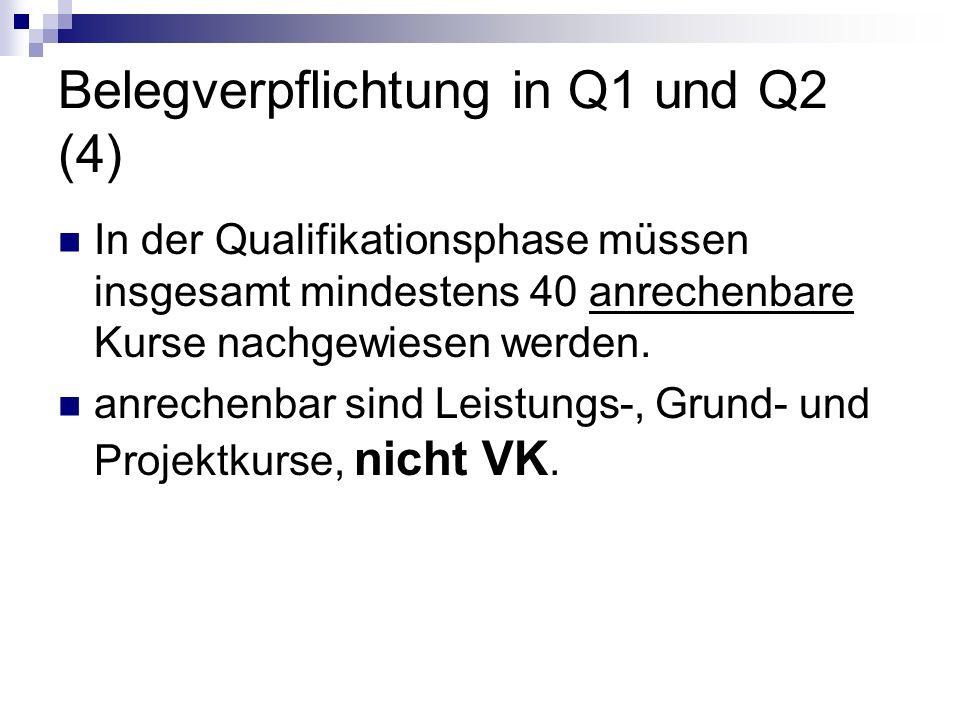 Belegverpflichtung in Q1 und Q2 (4) In der Qualifikationsphase müssen insgesamt mindestens 40 anrechenbare Kurse nachgewiesen werden. anrechenbar sind