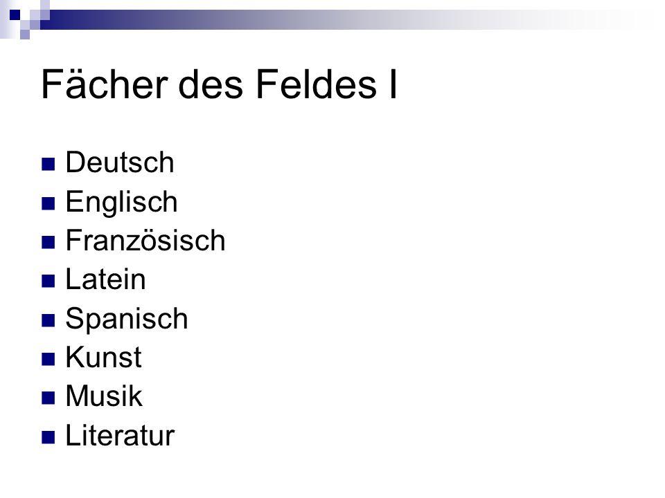 Fächer des Feldes I Deutsch Englisch Französisch Latein Spanisch Kunst Musik Literatur