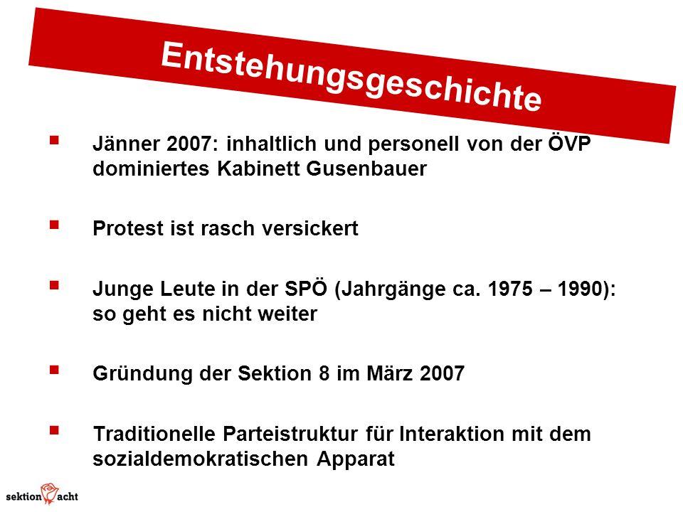 Entstehungsgeschichte Jänner 2007: inhaltlich und personell von der ÖVP dominiertes Kabinett Gusenbauer Protest ist rasch versickert Junge Leute in der SPÖ (Jahrgänge ca.