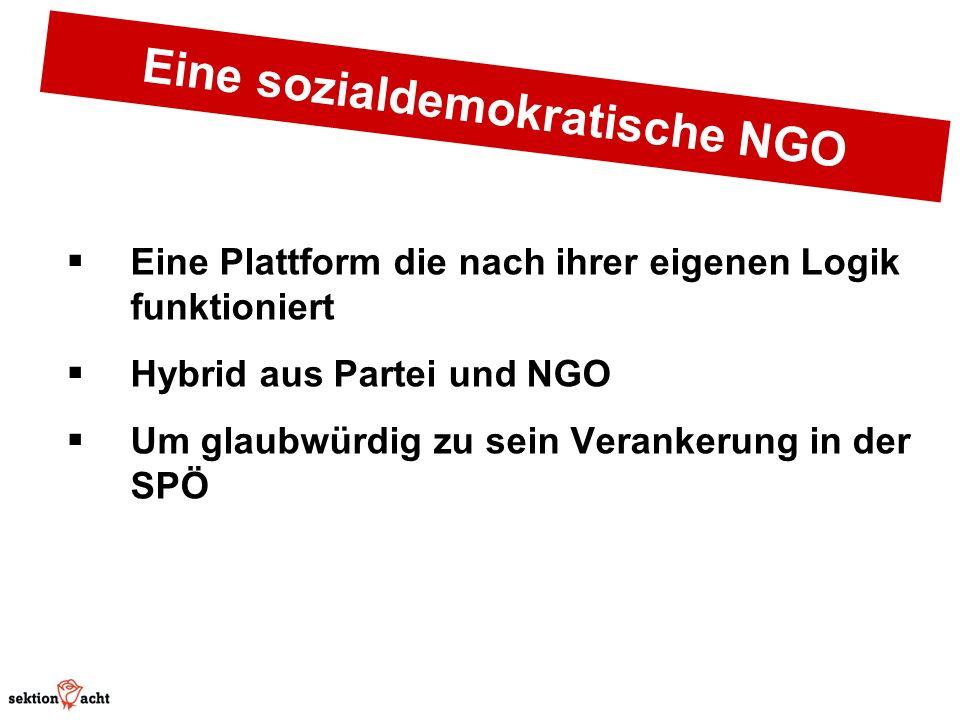 Eine sozialdemokratische NGO Eine Plattform die nach ihrer eigenen Logik funktioniert Hybrid aus Partei und NGO Um glaubwürdig zu sein Verankerung in der SPÖ