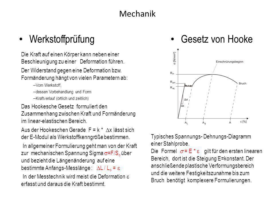 Mechanik Werkstoffprüfung Die Kraft auf einen Körper kann neben einer Beschleunigung zu einer Deformation führen. Der Widerstand gegen eine Deformatio
