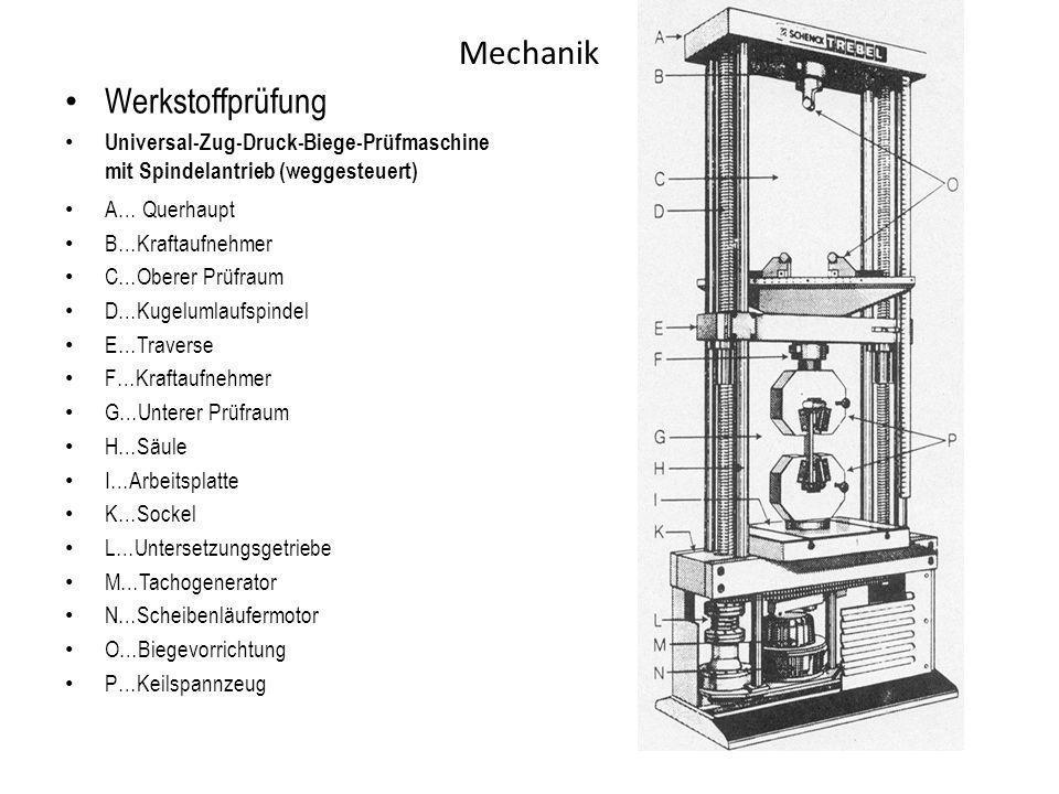 Mechanik Werkstoffprüfung Universal-Zug-Druck-Biege-Prüfmaschine mit Spindelantrieb (weggesteuert) A… Querhaupt B…Kraftaufnehmer C…Oberer Prüfraum D…K